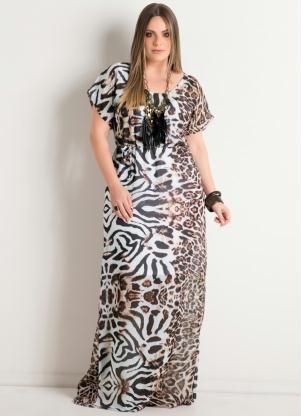 Vestido Longo Animal Print Plus Size - Posthaus