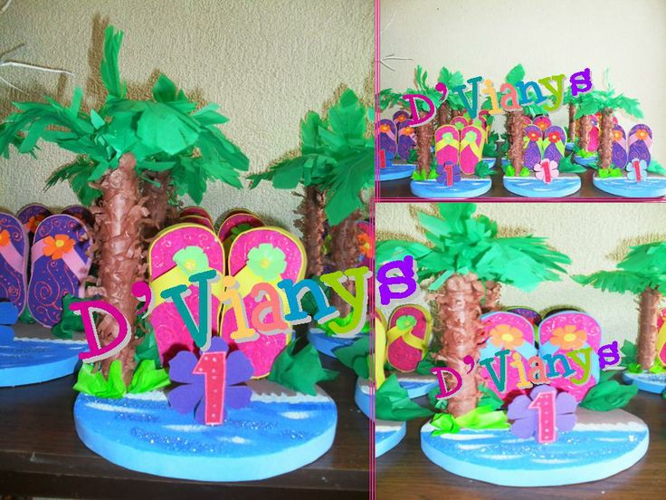 Mesa de fiesta infantil fiesta hawaiana centros de mesa for Mesas pequenas
