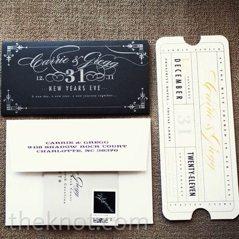 Ticket invitations offered a playful sneak peek at Carrie and Gregg's festive New Year's Eve nuptials.