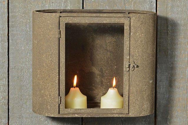 Wand lantaarn L 37 cm H 30 cm metaal grijs (6278000)