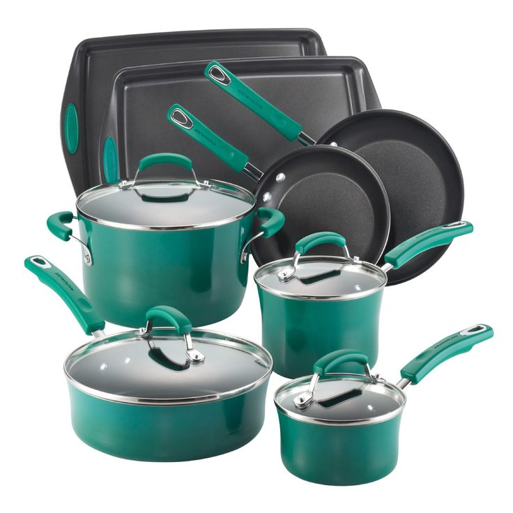 rachael ray porcelain ii nonstick cookware set with bakeware fennel gradient at rachael ray store