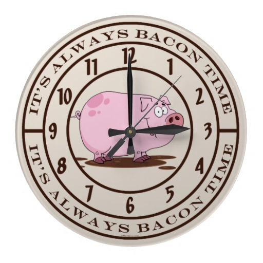 Funny Pork Pig Food Its Always Bacon Time Tan Pink Round Clocks Dress Up  Your Kitchen, Restaurant Or Meat Butcher Shop Decor With This Trendy Bacon  Theme ...