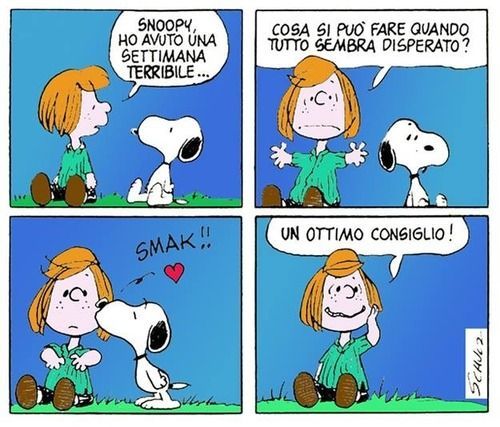 Snoopy, I had a terrible week. What can you do when everything seems hopeless? **Smooch** Great advice!