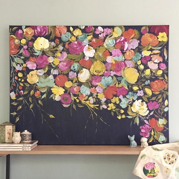Desert Midnight is a fresh and vibrant abstract floral. Painted with a  palette knife,