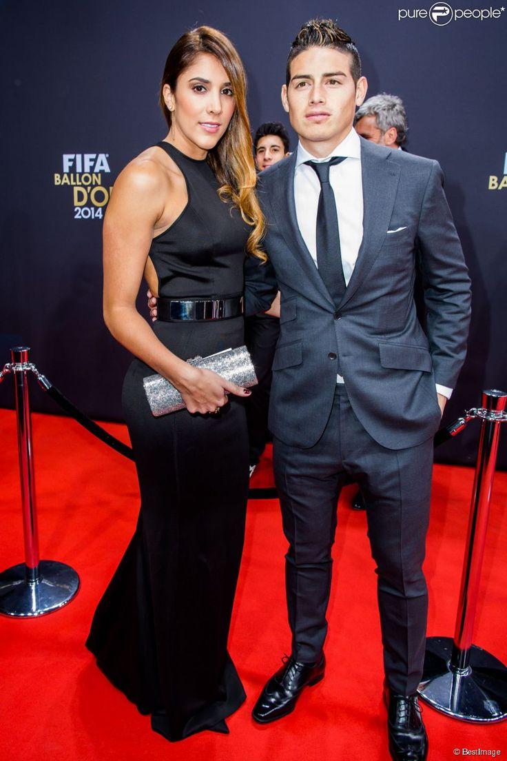 James Rodriguez et sa femme Daniela Ospina - Gala FIFA Ballon d'Or 2014 à Zurich, le 12 janvier 2015.