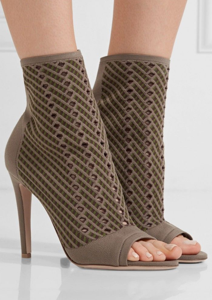 GIANVITO ROSSI Perforated stretch-knit ankle boots | Buy ➜ https://shoespost.com/gianvito-rossi-perforated-stretch-knit-ankle-boots/