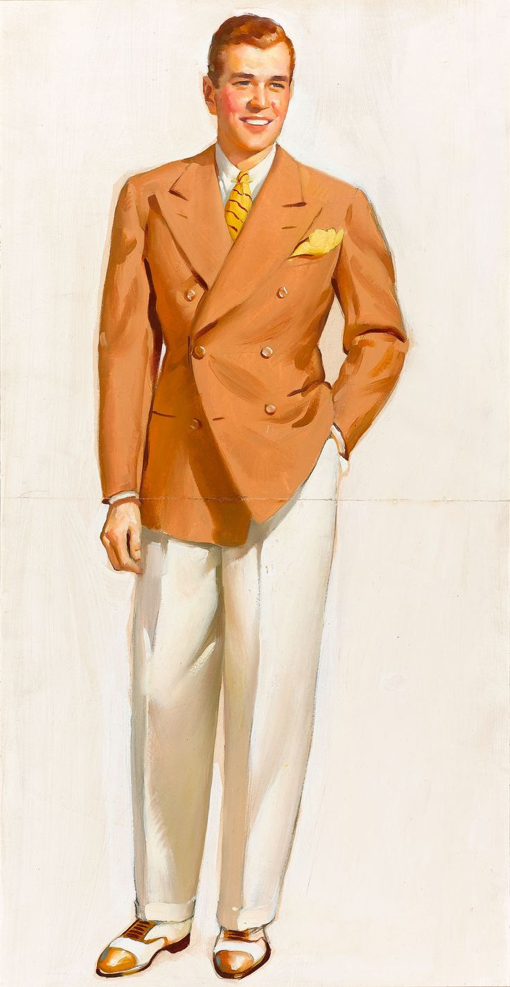 Gil Elvgren, Men's fashion catalog cover, Elvgren's first commercial assignment. Oil on board, 24 x 12.5 inches.