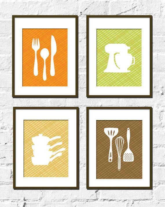 Kitchen Artwork Print Set  CrissCross Kitchen Set by TexturedINK, $38.00