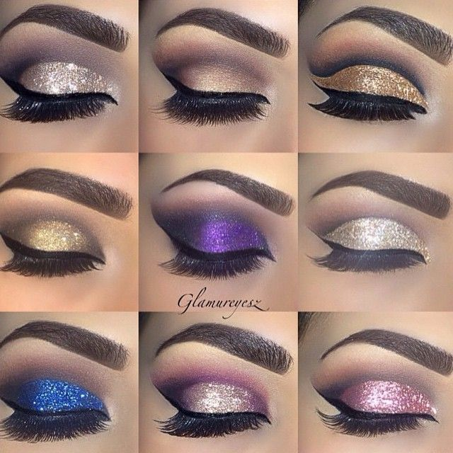 All type of eye shadow looks...from glittery to a matte finish!! These are all fabulously done!!!! Love, love, love!!!!!:):)