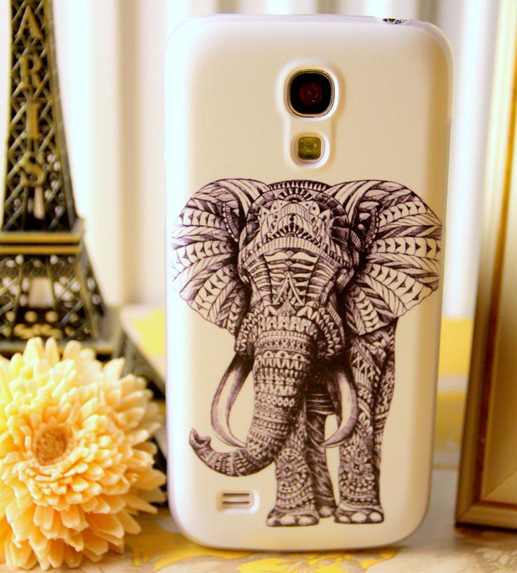 BLACK WHITE ELEPHANT MOBILE PHONE CASE  COVER FOR SAMSUNG GALAXY S4 MINI I9192