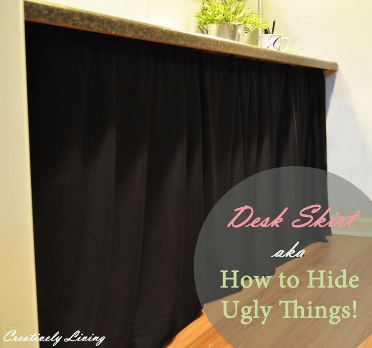 DIY Desk Skirt...aka...How to Hide Ugly Things!