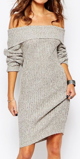 Off the Shoulder Knit Dress ❤︎