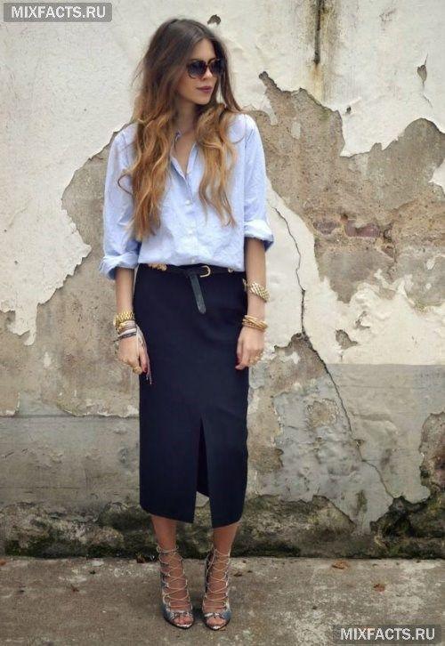 синяя юбка карандаш с чем носить - Поиск в Google