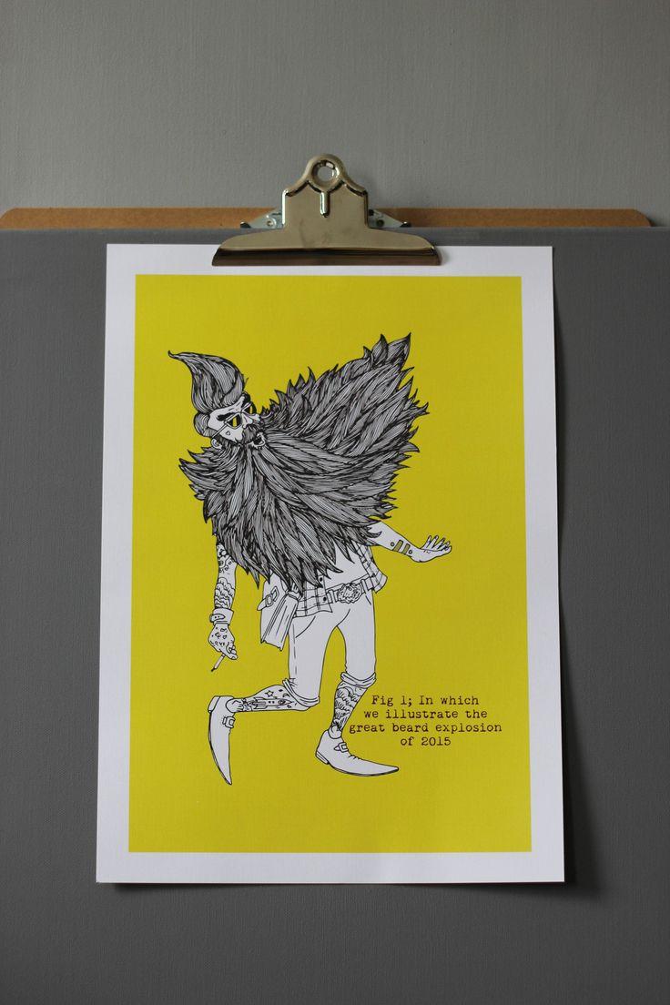 Beard Explosion Art Print