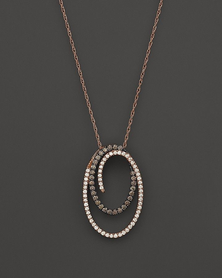 Brown and White Diamond Oval Pendant Necklace in 14K Rose Gold and Black Rhodium, .60 ct. t.w.
