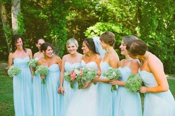 Mint Blue Bridesmaid Dresses Long Chiffon Prom By