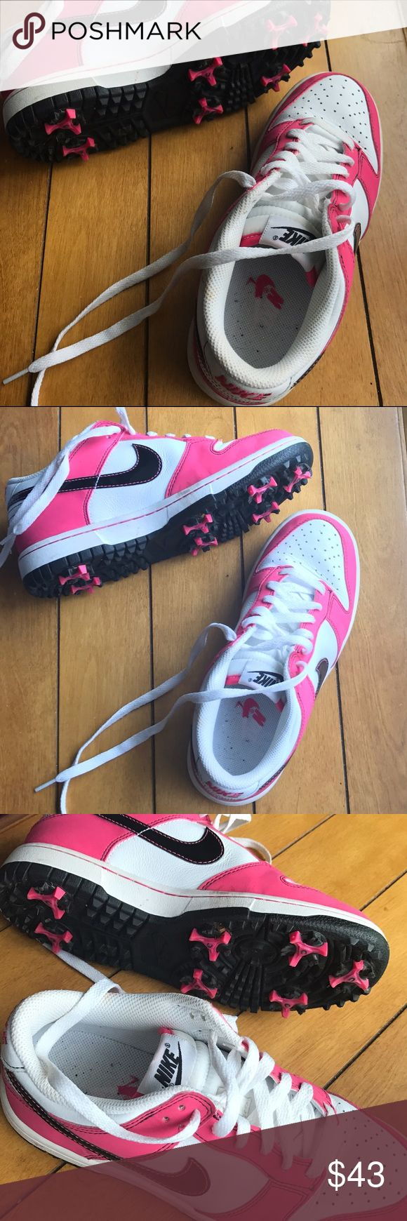 EUC • Pink & black Nike golf shoes/cleats These have only been worn a few times, they are in EUC! super comfortable. bright pink and black.  Size 6.5 LADIES  #nike #air #swoosh #golf #sneakers #cleats #likenew #euc #pink #black Nike Shoes Athletic Shoes