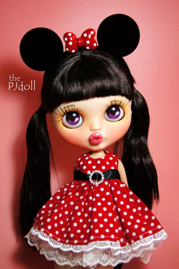 thePJdoll-reserved for Erin [ Minnie! ] Custom Blythe Doll/Mickey Mouse Disney/OOAK, handmade Blythe custom/ブライス/freckles/Licca/