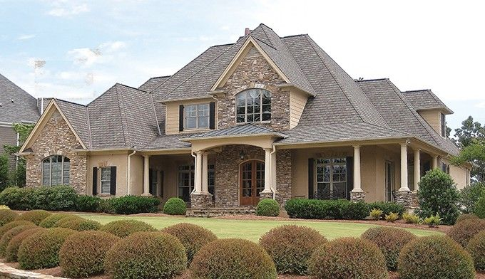 ePlans New American House Plan Stone Accents And WrapAround