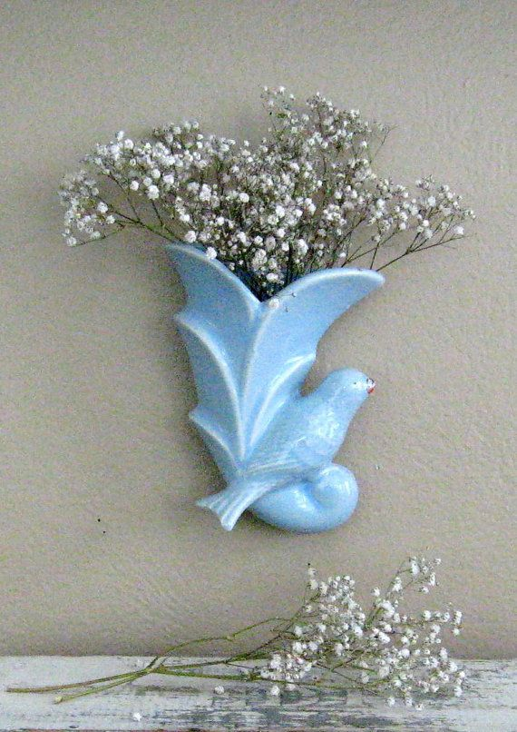 Vintage Blue Bird Pottery Wall Pocket by outofdoha2010 on Etsy, $11.00