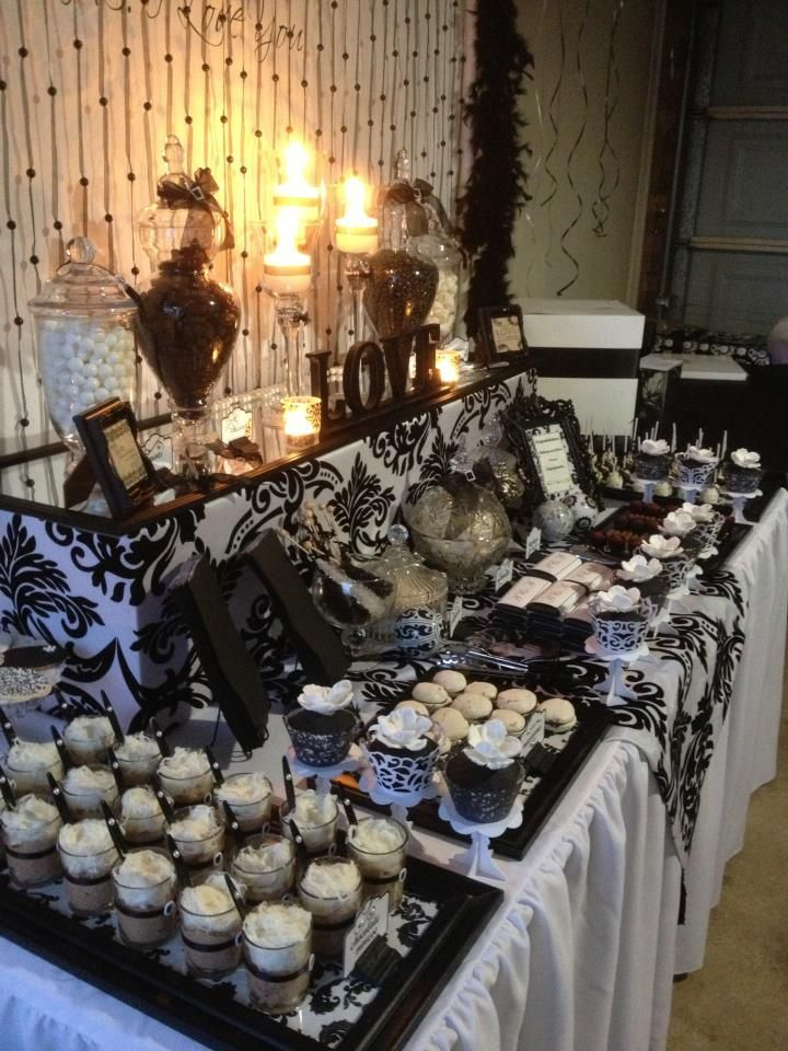 black white party window panes for the desserts