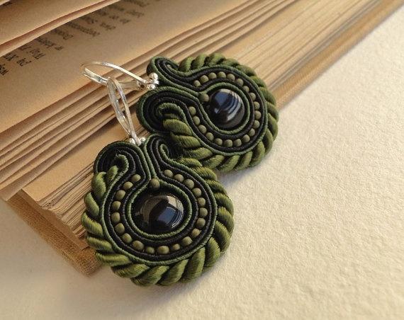 Soutache earrings beaded earrings with black and dark by soStudio, $31.00