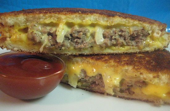 Logan County Hamburger - cross between a grilled cheese and a hamburger, I made a sauce out of horseradish, mayo and spicy brown mustard and I sauteed the onions first. It was so good.