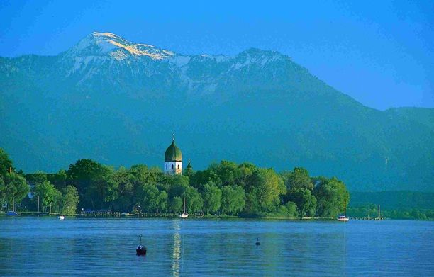 Chiemsee is a freshwater lake in Bavaria, Germany, between Rosenheim, Germany, and Salzburg, Austria. It is often called the Bavarian Sea. The rivers Tiroler Achen and Prien flow into the lake; the river Alz, out of it.