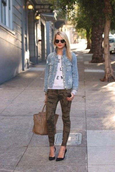 Another way to wear my camo jeans!  denim jean jacket and tee