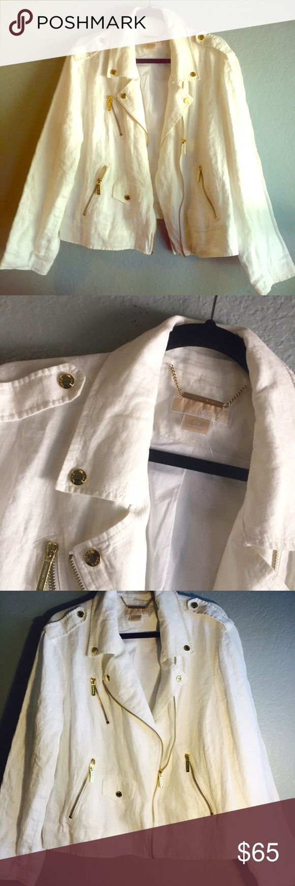Michael Kors Jacket NWOT Off White Egg shell 100% Linen jacket. Gold toned hardware with a zipper closure. Plus Michael Kors Jackets & Coats