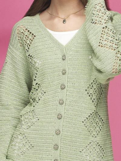 Spring Green Cardigan (free crochet pattern): Nice tunic lengh sweater. I like the openwork squares and am imagining oher uses for them, too...