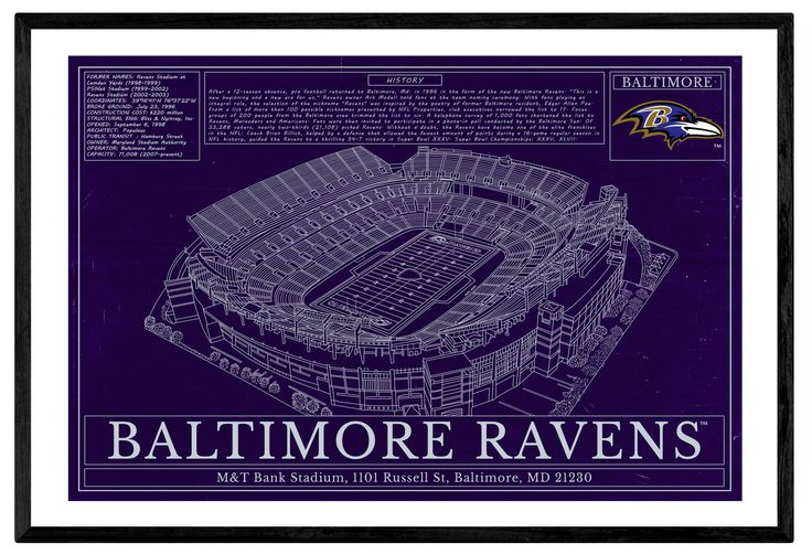 Unique NFL Football Stadium Blueprints Art Gift Wall art - Baltimore Ravens M&T Stadium