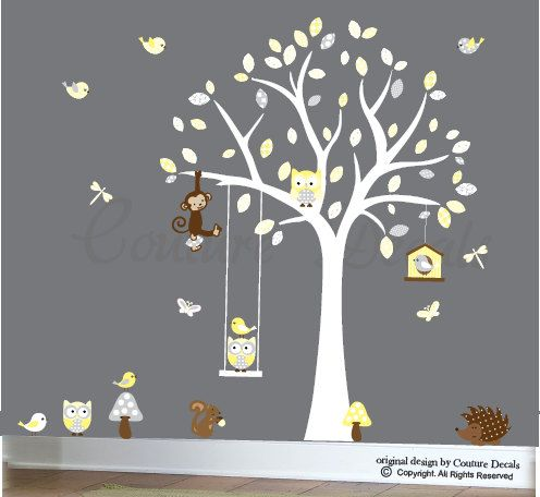 Wall decal forest friends yellow and grey wall by couturedecals