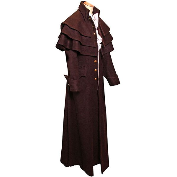 Napoleonic, Civilian Clothing, jacket, frock coat ❤ liked on Polyvore featuring outerwear, coats, costume, men, tops, red cape coat, red cloak, cloak cape, red frock coat and cape coats