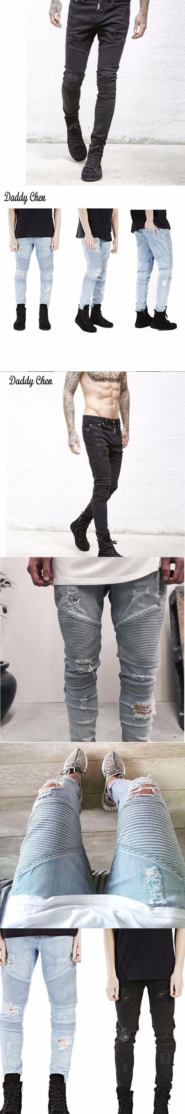 Men Jeans Stretch Ripped Biker Solid Casual Black Pants Winter Denim Hip Hop Streetwear Cargo Jeans Male Skinny Trouser 2017