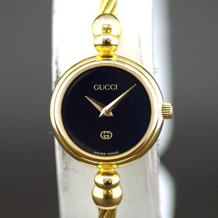 【中古】GUCCI(グッチ) 2700L バングル ウォッチ クオーツ GP レディース ブラック文字盤時計/アクセサリーとしてもご使用いただけるグッチのバングルウォッチです。/新品同様・極美品・美品の中古ブランド時計を格安で提供いたします。