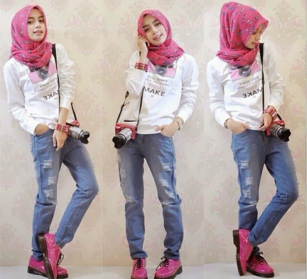 Hijab style | casual jeans | pink