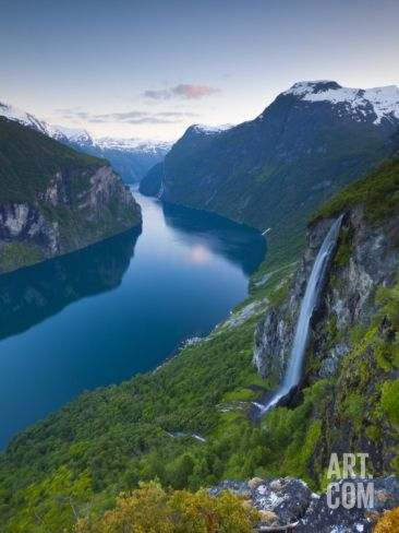 The Majestic Geiranger Fjord Illuminated at Dusk, Geiranger, More Og Romsdal, Norway Photographic Print by Doug Pearson at Art.com