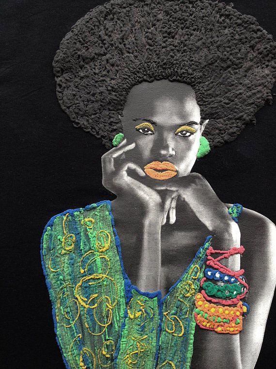 Afro T-shirt Black Beauty Painted 3d