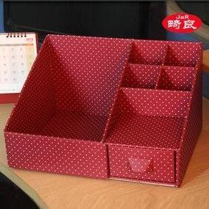 envío gratis rojo de escritorio organizador costemic misceláneas perfumes caja de almacenamiento de las oficinas de escritorio...