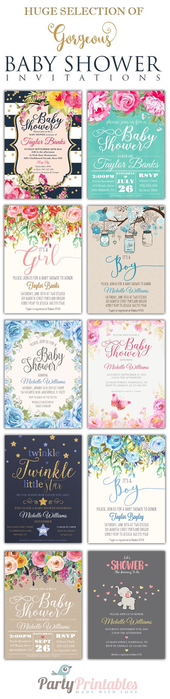 Easy to Personalize with Adobe Reader. A huge selection of original trend-setting baby shower invitations for a girl baby shower or boy baby shower or twin baby shower in styles ranging from modern to classic to elegant, glam, rustic and even boho chic. In any color and just about any fonts you can imagine. Wow your guests with beautiful invitations. Celebrate Life, Love & Babies with Party-Printables.com at www.party-printables.com