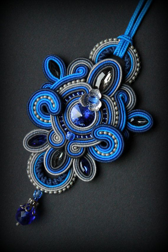 Handmade soutache necklace/pendant by Mildossutazas on Etsy More