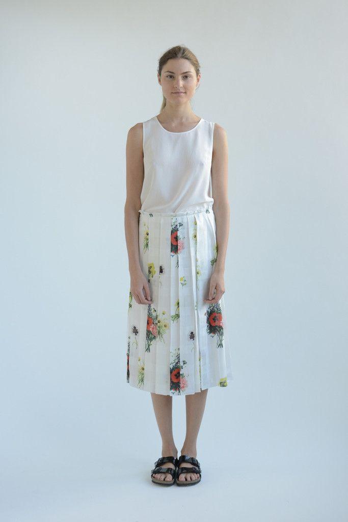 Poppy Print Pleated Skirt – SVILU