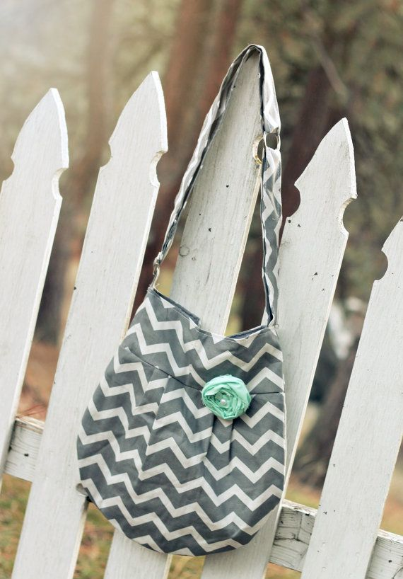 Grey Chevron Bag Grey and Aqua Cross Body by SweetDaisyDesigns $34.99 (Handmade by a Grateful Military Family)