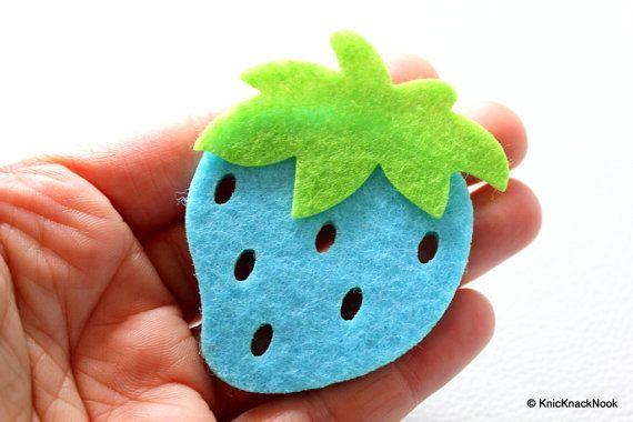 2 x Blue Strawberry Huge Felt Applique Patch by KnicKnackNook