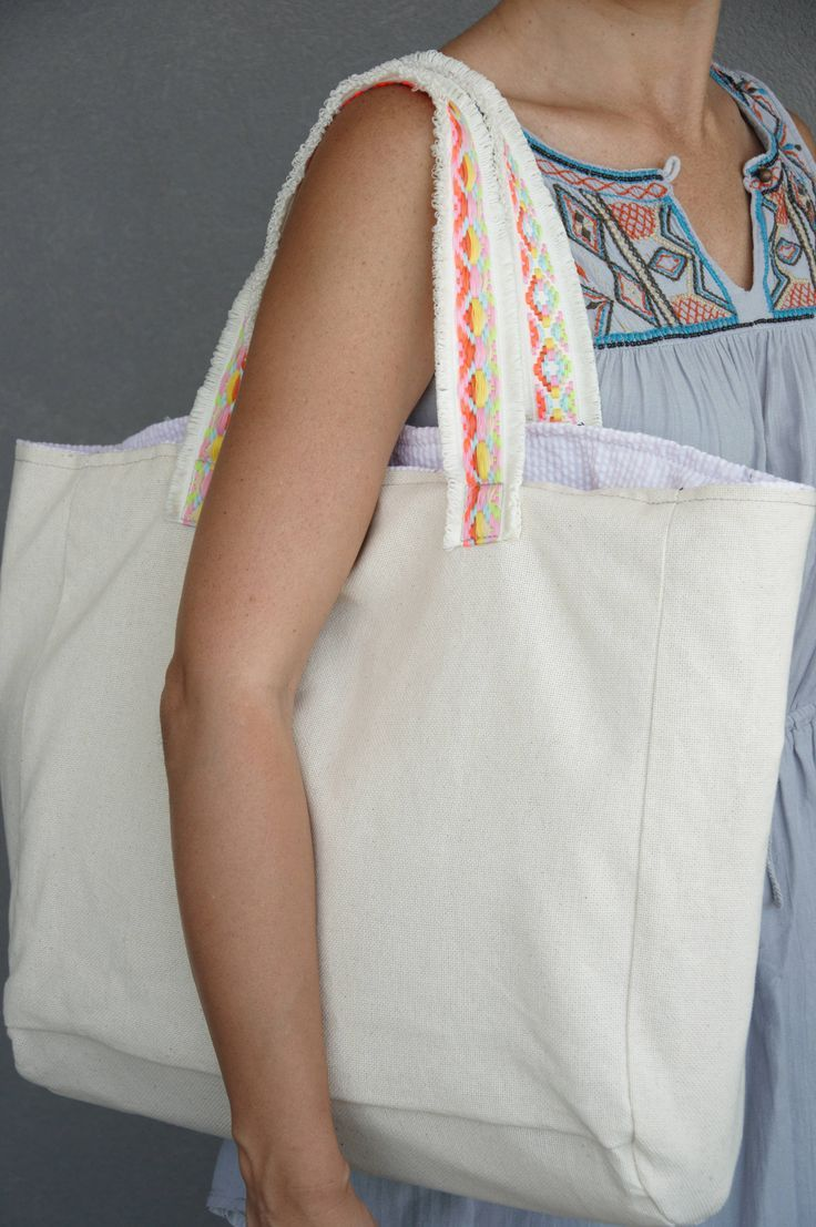 Trendy beach bag, Oversized beach tote, Canvas carryall, Weekend travel bag, Canvas beach tote, Large diaper bag, Carry on bag, Beige bag