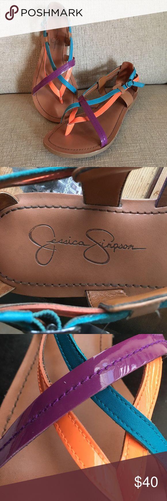 Jessica Simpson Sandals Jessica Simpson Multicolor Flat Sandals. Worn once, great condition. Jessica Simpson Shoes Sandals