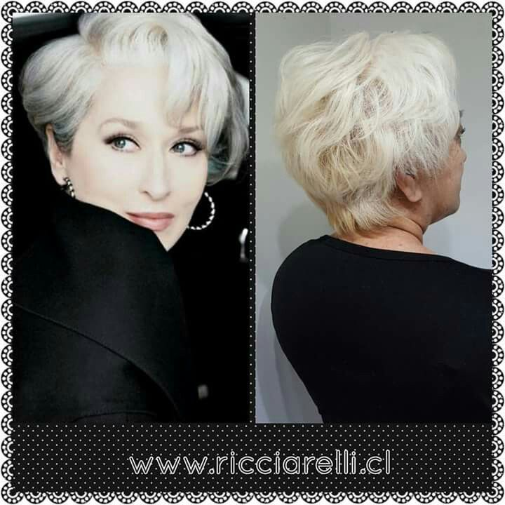 Hairstyle Miranda Priestly, Corte,  Color Platinado y tratamiento Full Olaplex. #mirandapriestly #haircolor #haircut #PeluqueriaRicciarelli #olaplex #reparacióncapilar