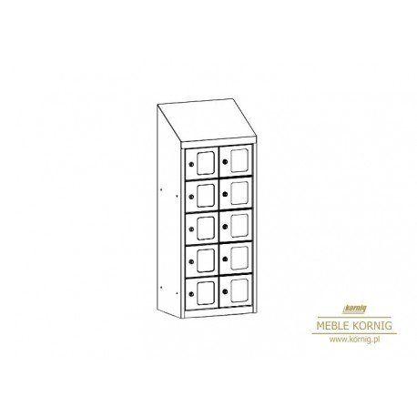 Metalowa szafka śniadaniowa z drzwiczkami z pleksi, bardzo użyteczna w dużych firmach, dzięki drzwiczkom z pleksi można mieć kontrolę nad zawartością szafek. W skrytkach można schować nie tylko rzeczy osobiste, ale również telefony komórkowe itp..
