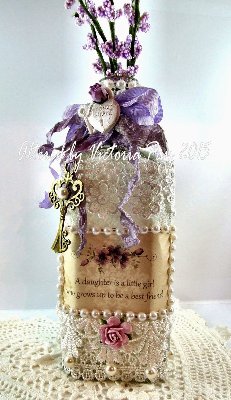 Shabby chic altered bottle with Pion Design